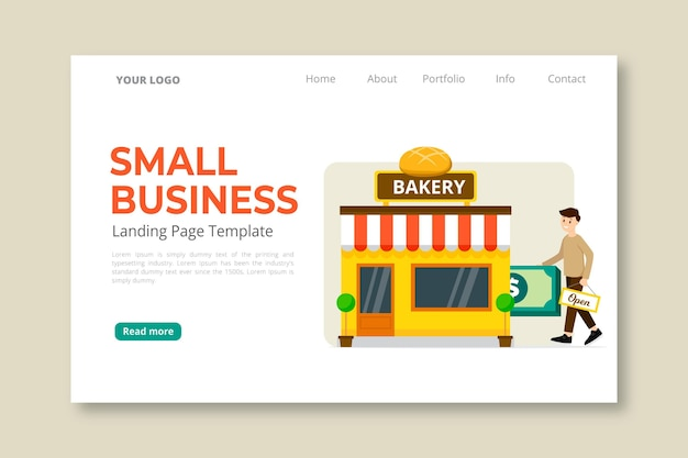 Página de destino para pequenas empresas