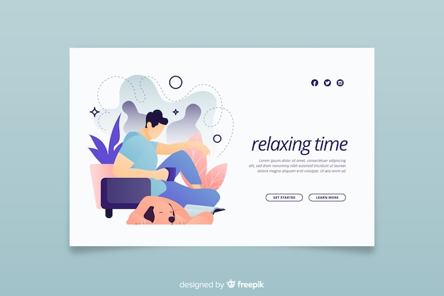 Página de destino para relaxar na casa