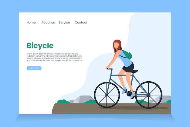 Página de destino para uma vida saudável pedalando