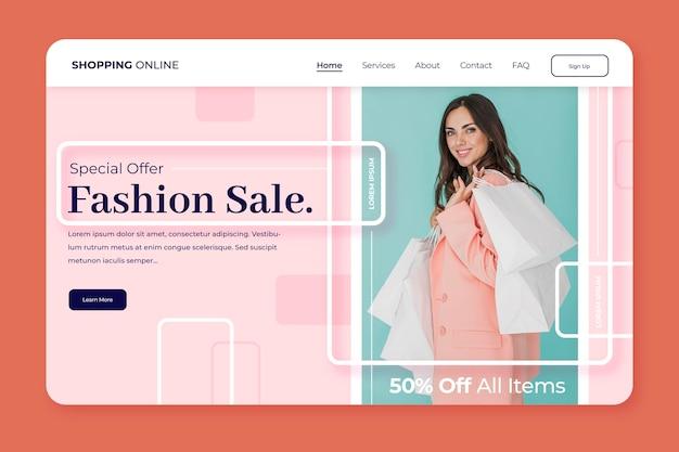 Página de destino para venda de moda