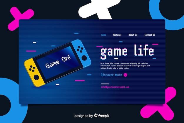 Página de destino para videogames no estilo memphis