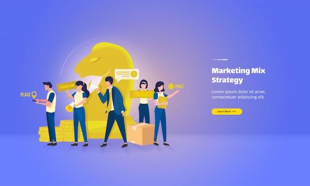 Página de destino plana com conceito de estratégia de mix de marketing