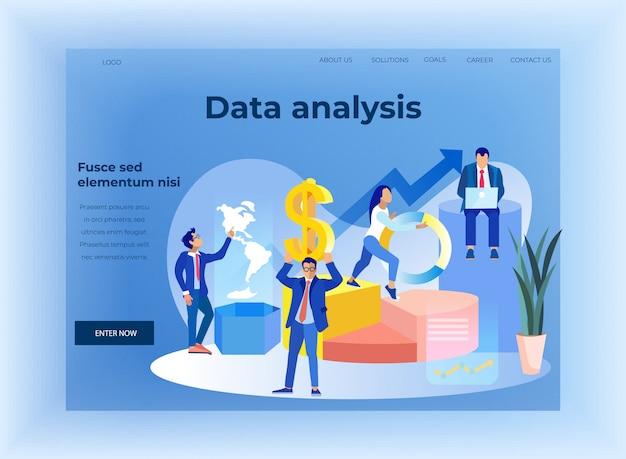Página de destino plana de análise de dados de negócios finanças