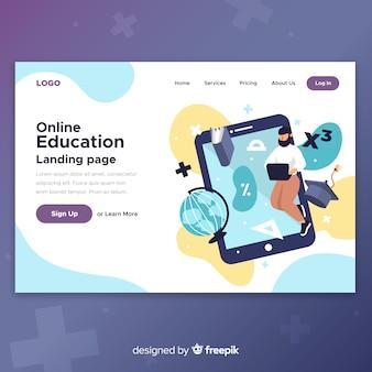 Página de destino plana de conceito de aprendizagem