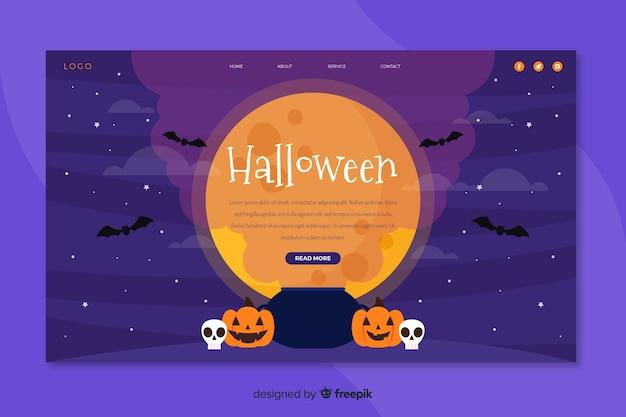 Página de destino plana de halloween com abóbora