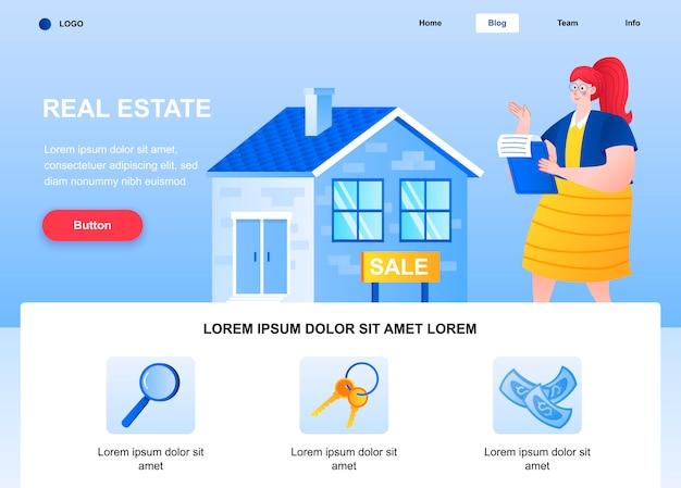 Página de destino plana de imóveis. corretor de imóveis de mulher vendendo a página da web da casa.