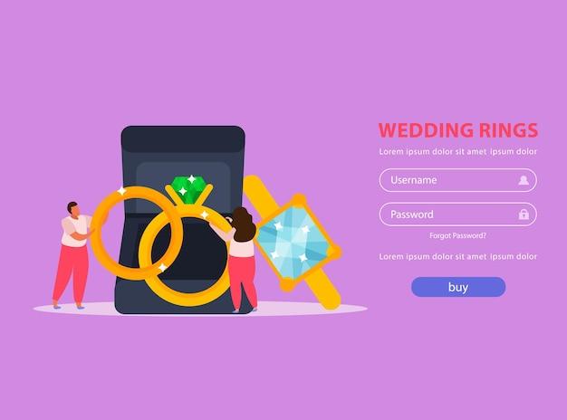 Página de destino plana de joias com campos de login botão de compra e alianças de casamento com pessoas
