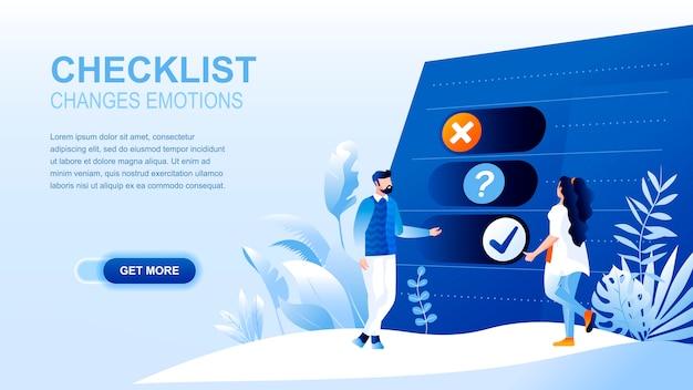 Página de destino plana de lista de verificação com cabeçalho, modelo de banner.