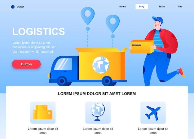 Página de destino plana de logística. correio segurando a página da web da caixa de papelão.