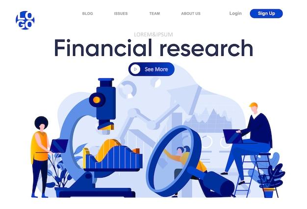 Página de destino plana de pesquisa financeira. equipe de analistas de negócios, estudando cuidadosamente as informações com ilustração de lupa e microscópio. composição de página da web com caracteres de pessoas.