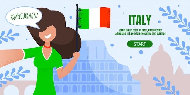 Página de destino plana de publicidade de viagem na itália