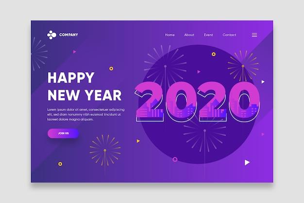 Página de destino plana do ano novo