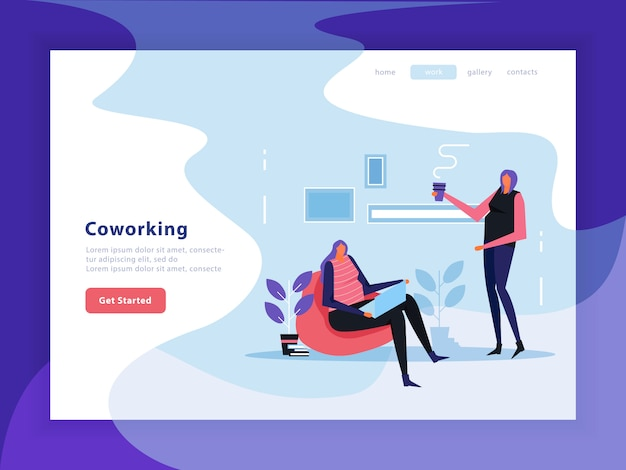 Página de destino plana do coworking