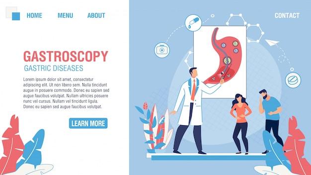 Página de destino plana do departamento médico de gastroscopia