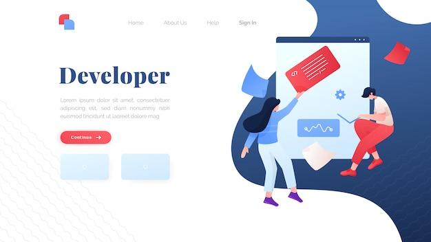 Página de destino plana do desenvolvedor