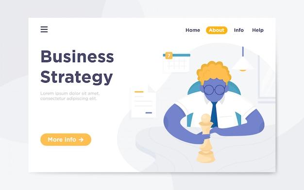 Página de destino plana moderna da estratégia de negócios