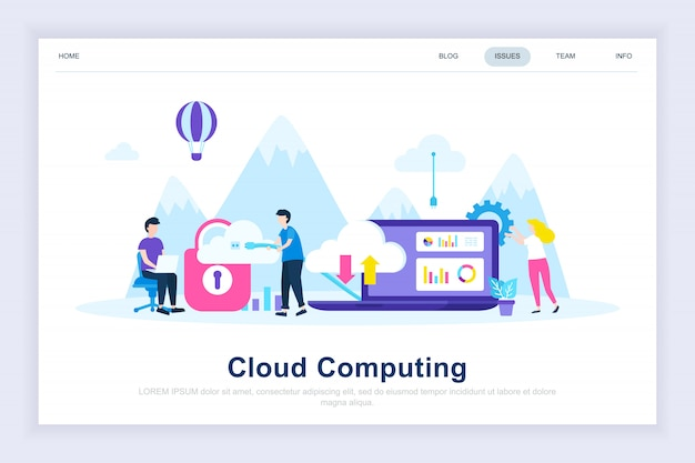 Página de destino plana moderna de computação em nuvem
