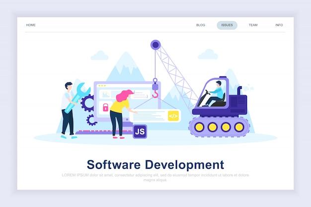 Página de destino plana moderna de desenvolvimento de software