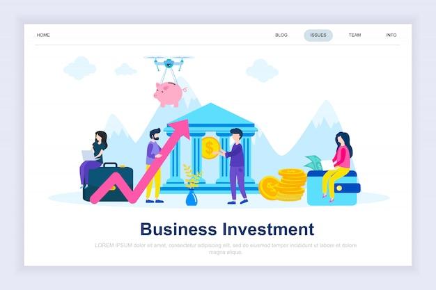 Página de destino plana moderna de investimento empresarial