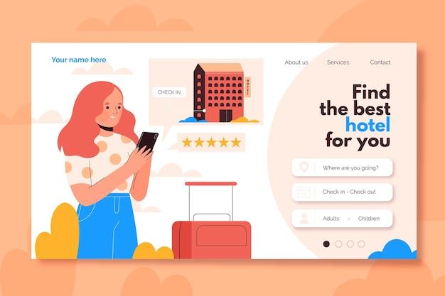 Página de destino plana orgânica do hotel com ilustrações