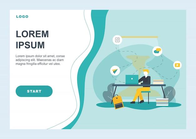 Página de destino plana promovendo gerenciamento eficiente