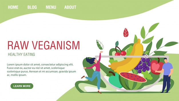 Página de destino plana promovendo o veganismo de alimentos crus