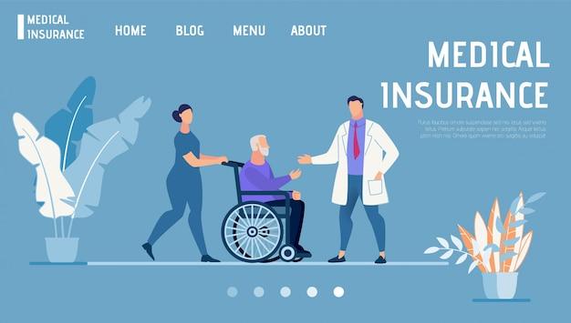 Página de destino promove seguro médico e de saúde