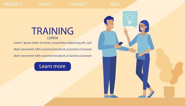 Página de destino promovendo treinamento profissional