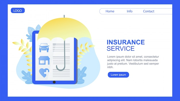 Página de destino. proteção do guarda-chuva da bandeira do serviço do seguro de saúde da casa do carro