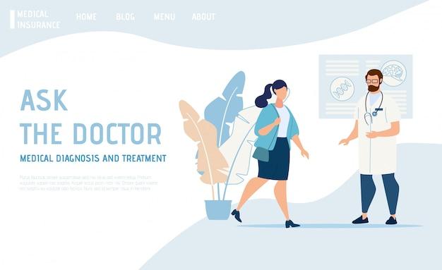 Página de destino que oferece consulta médica on-line