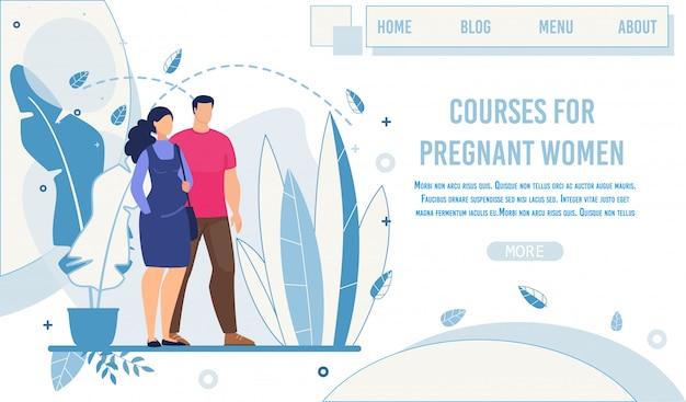 Página de destino que oferece cursos para mulheres grávidas