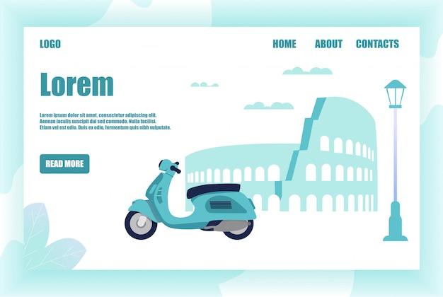 Página de destino que oferece emocionante viagem romântica de ciclomotor