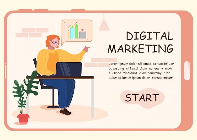 Página de destino que oferece idéias para marketing digital