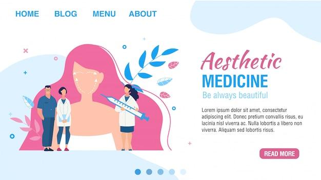 Página de destino que oferece serviço de medicina estética