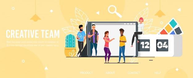Página de destino que promove a equipe criativa profissional