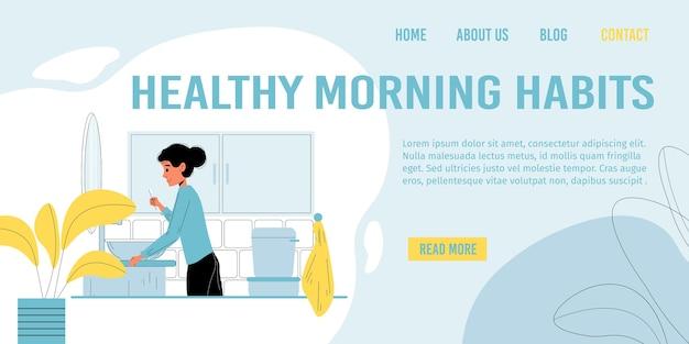 Página de destino que promove hábitos matinais saudáveis