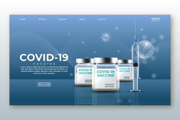 Página de destino realista da vacina contra o coronavírus