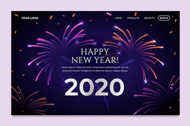 Página de destino realista de ano novo