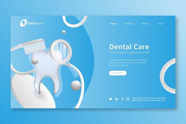 Página de destino realista de atendimento odontológico