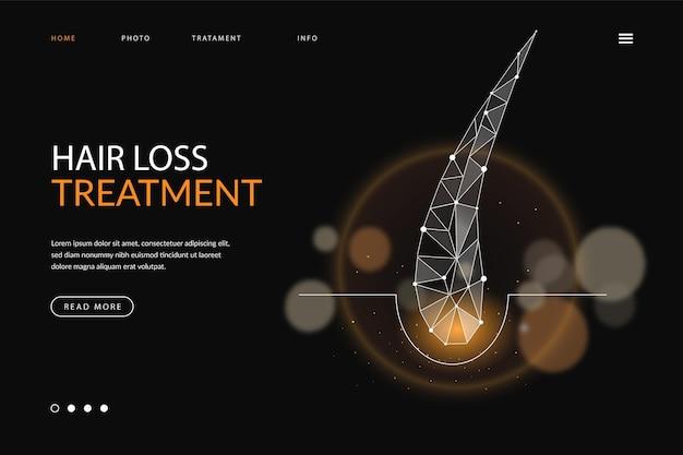 Página de destino realista de tratamento contra queda de cabelo