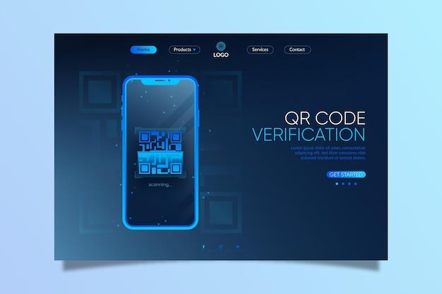 Página de destino realista de verificação de código qr