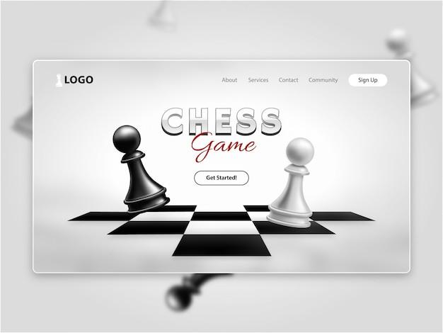 Página de destino realista do jogo de xadrez