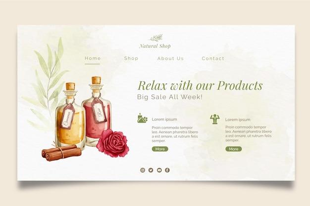 Página de destino relaxante de produtos