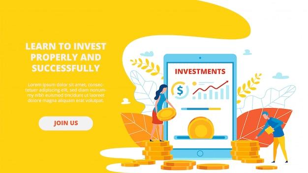 Página de destino sobre aprenda a investir corretamente e com sucesso.