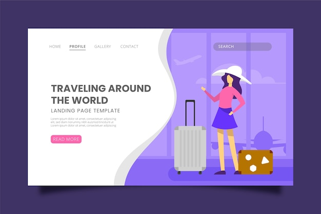 Página de destino temática de viagem