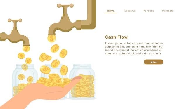 Página de destino torneira de água dourada torneira deixando cair dinheiro moeda conceito de fluxo de caixa