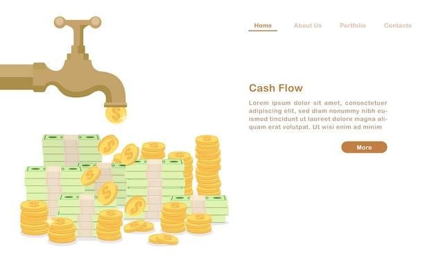 Página de destino torneira de torneira de água dourada lançando moeda de dinheiro