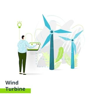 Página de destino turbina eólica, o conceito de homens fabricando tecnologia de energia para moinhos de vento