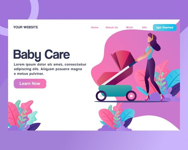 Página de destino. um, mulher, com, um, carrinho bebê