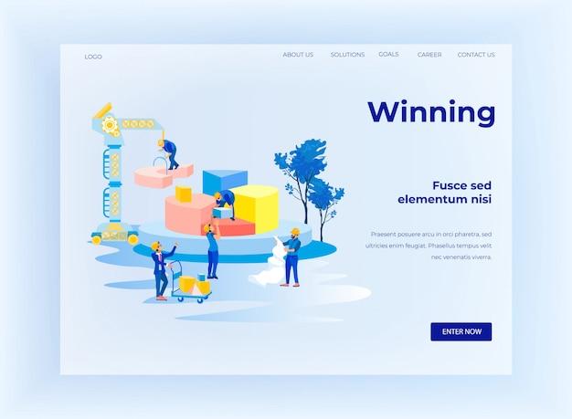 Página de destino vencedora com os criadores de equipes da metáfora